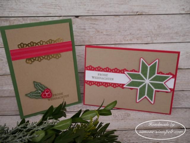 Weihnachtskarten mit Stanze Dekobordüre Stampin`Up 2017 P1010730.JPG